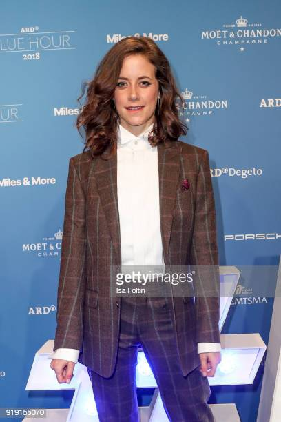 German actress Anja Knauer attends the Blue Hour Reception hosted by ARD during the 68th Berlinale International Film Festival Berlin on February 16...