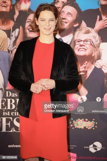 German actress Anjorka Strechel on the red carpet on arrival for the opening film of the 17th French Film Week Berlin 'Le Sens de la fete' at Kino...