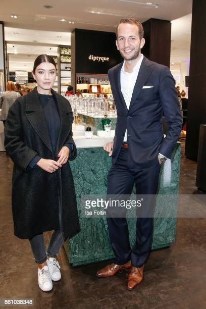German actress Anna Bederke and Timo Weber during the Alsterhaus Beauty Opening 'Die Neue Schönheit' on October 13 2017 in Hamburg Germany