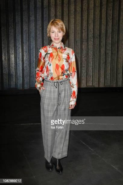 German actress Anna Brueggemann attends the Odeeh Defile during the Berlin Fashion Week Autumn/Winter 2019 at Haus Der Berliner Festspiele on January...