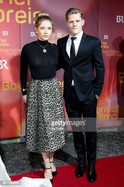 German actress Anna Lena Klenke and German actor Maximilian von der Groeben attend the Bayerischer Filmpreis 2017 at Prinzregententheater on January...