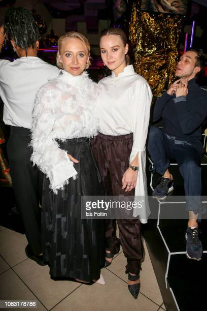 German actress Anna Maria Muehe and German actress Sonja Gerhardt during the William Fan Defile during 'Der Berliner Salon' Autumn/Winter 2019 at...