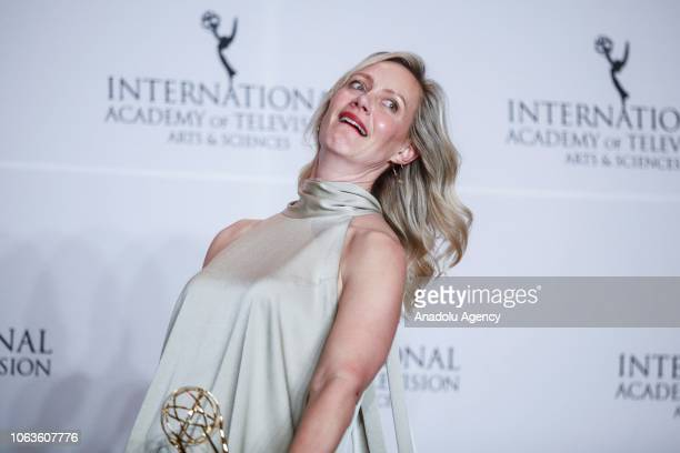 German actress Anna Schudt gives a pose with her award during the 46th International Emmy Awards at New York Hilton on November 19 2018 in New York...