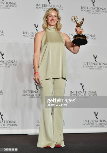 German actress Anna Schudt holds her award for Best Performance By an Actress during the 46th International Emmy Awards the 46th International Emmy...