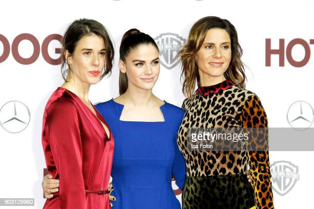 German actress Anne Schaefer German actress and model Lisa Tomaschewsky and German actress Christina Hecke attend the 'Hot Dog' world premiere at...
