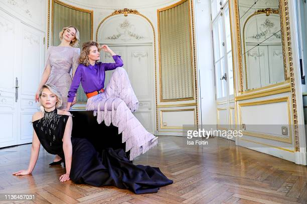 German actress Anne-Catrin Maerzke, Model Victoria Jancke and Influencer Marie von den Benken pose during a fashion shooting for the World Vegan...