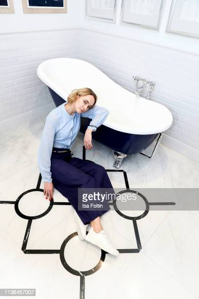 German actress Anne-Catrin Maerzke poses during a fashion shooting for the World Vegan Magazine on February 9, 2019 in Berlin, Germany.
