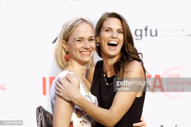 German actress Annett Fleischer and German presenter Katrin Wrobel attend the IFA 2018 opening gala on August 31 2018 in Berlin Germany