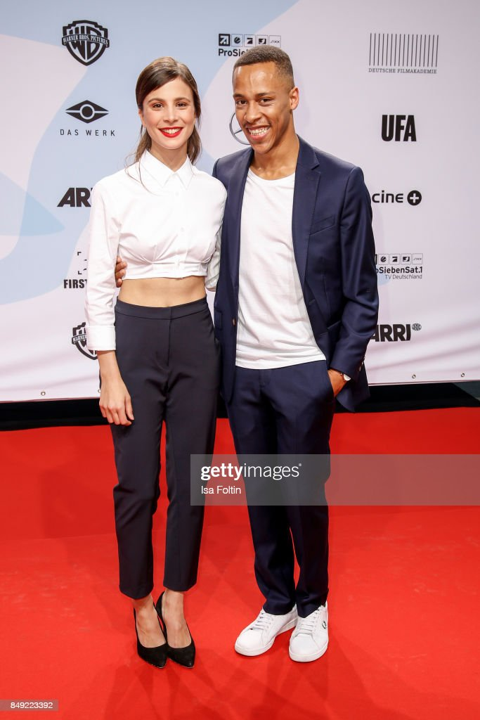 German actress Aylin Tezel and German actor Jerry Hoffmann attend the First Steps Awards 2017 at Stage Theater on September 18, 2017 in Berlin, Germany.