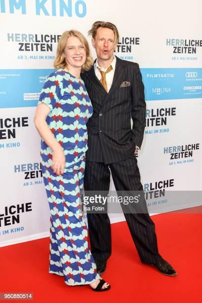 German actress Caroline Peters and German actor Alexander Scheer during the 'Herrliche Zeiten' Premiere In Berlin at Kino International on April 24...