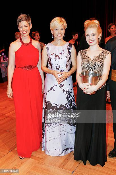 German actress Cheryl Shepard and german actress Andrea Kathrin Loewig with a lot fess during the Leipzig Opera Ball 2016 on September 10 2016 in...