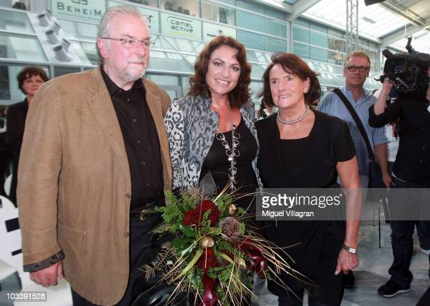 German actress Christine Neubauer her father Erwin Neubauer and mother Lydia Neubauer pose after the fashion show of the Christine Neubauer Limited...