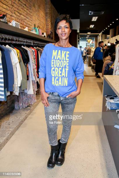 German actress Dennenesch Zoude attends the Kickoff Europa #MEGA event hosted by Place to B at The Corner on April 29 2019 in Berlin Germany