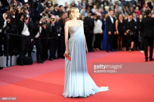 German actress Diane Kruger poses as she arrives on May 13 2018 for the screening of the film 'Sink Or Swim ' at the 71st edition of the Cannes Film...