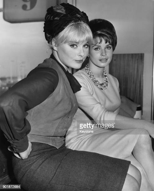 German actress Elke Sommer and Austrian actress Senta Berger arrive at London Airport, to make the film 'The Victors' at Shepperton Studios, 17th...