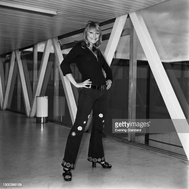 German actress Elke Sommer at Heathrow Airport in London, UK, 9th June 1972.