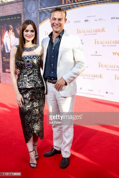 "German actress Emilia Schuele and German actor Dennis Mojen attend the ""Traumfabrik"" Movie Premiere on June 24, 2019 in Berlin, Germany."