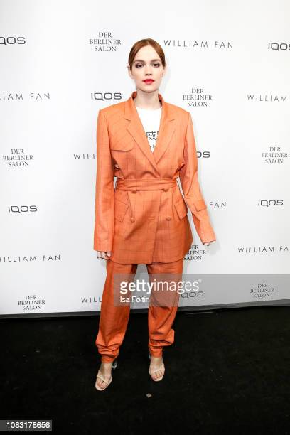 German actress Emilia Schuele arrives for the William Fan Defile during 'Der Berliner Salon' Autumn/Winter 2019 at Knutschfleck on January 15 2019 in...