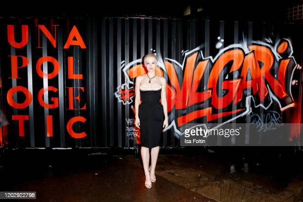 """German actress Emilia Schuele at the """"Unapologetic Night"""" by BVLGARI x Constantin Film at BVLGARI CLVB on February 23, 2020 in Berlin, Germany."""