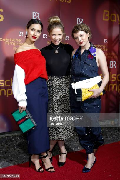 German actress Gizem Emre German actress Anna Lena Klenke and German actress Jella Haase attend the Bayerischer Filmpreis 2017 at...