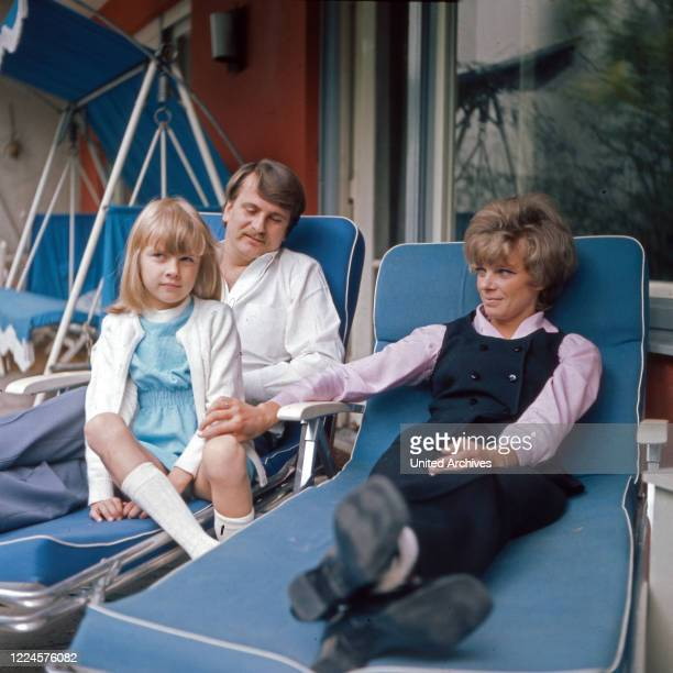 German actress Grit Boettcher with Christian Woelffler and daughter Nicole Germany 1960s