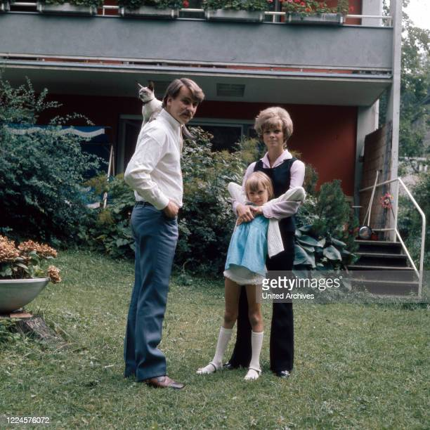 German actress Grit Boettcher with husband Christian Woelffler and daughter Nicole Germany 1960s
