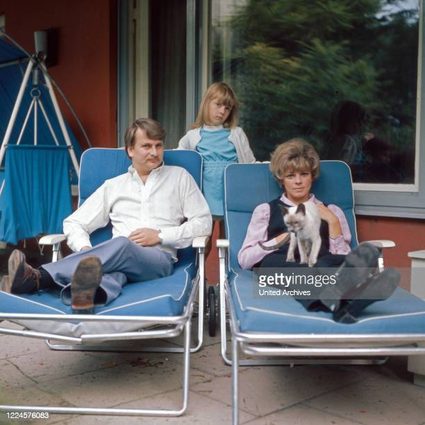 German actress Grit Boettcher with husband Wolfgang Bestler and daughter Nicole Germany 1960s