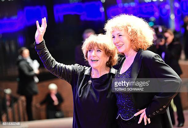 German actress Hannelore Hoger and her daughter Nina Hoger arrive for the opening of the Elbphilharmonie concert hall in Hamburg northern Germany on...