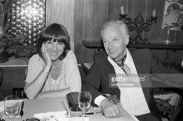 German actress Heidelinde Weis and Hellmuth Duna at the premiere of the play Champagner Komoedie Germany 1980s