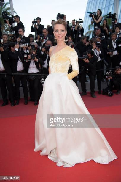 German actress Heike Makatsch arrives for the film The Meyerowitz Stories in competition at the 70th annual Cannes Film Festival in Cannes France on...