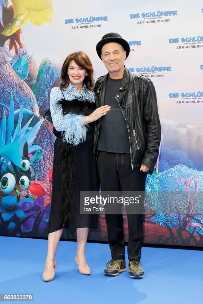 German actress Iris Berben and german actor Heiner Lauterbach during the 'Die Schluempfe Das verlorene Dorf' premiere at Sony Centre on April 2 2017...