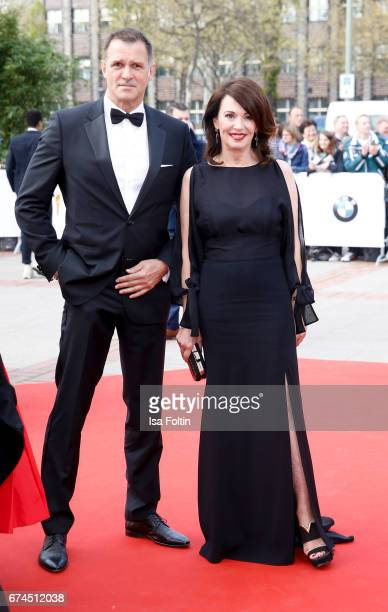 German actress Iris Berben and her partner Heiko Kiesow during the Lola German Film Award red carpet arrivals at Messe Berlin on April 28 2017 in...