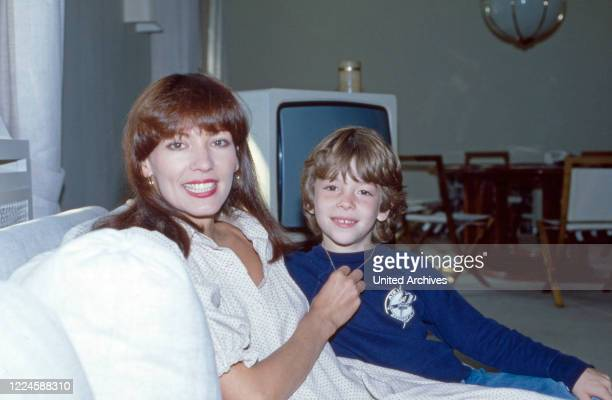 German actress Iris Berben with her son Oliver Germany 1970s