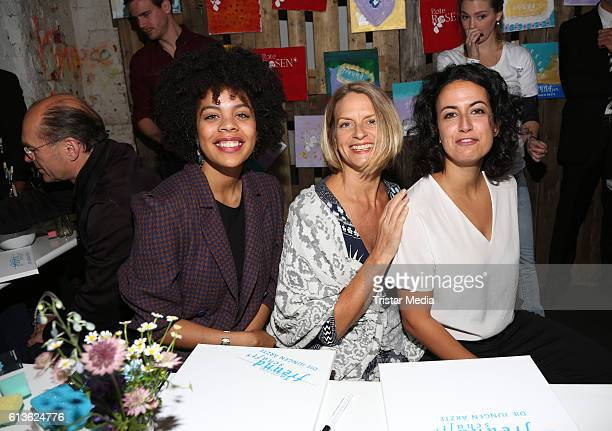 German actress Jane Chirwa german actress Gunda Ebert and german actress Sanam Afrashteh attend the Fan Made Day by Das Erste on October 9 2016 in...