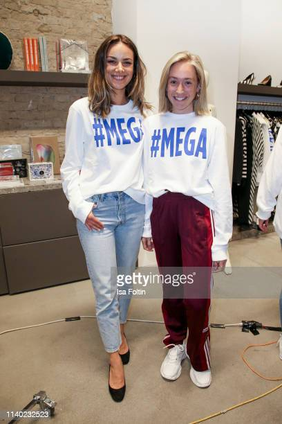 German actress Janina Uhse and influencer Sonia Lyson attend the Kickoff Europa #MEGA event hosted by Place to B at The Corner on April 29 2019 in...