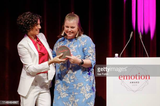 German actress Jasmin Gerat with award winner Julia Roemer during the Emotion Award 2019 on June 6, 2019 in Hamburg, Germany.