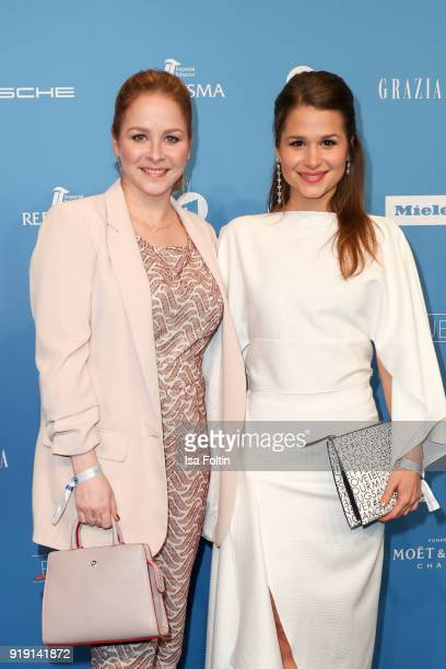 German actress Jasmin Schwiers and German-Brasilian actress Cristina do Rego attend the Blue Hour Reception hosted by ARD during the 68th Berlinale...