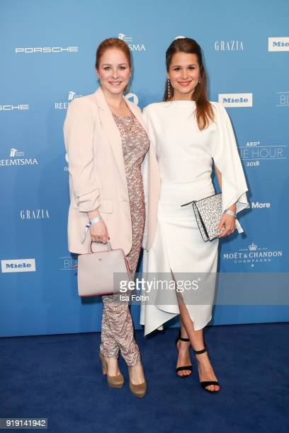 German actress Jasmin Schwiers and GermanBrasilian actress Cristina do Rego attend the Blue Hour Reception hosted by ARD during the 68th Berlinale...