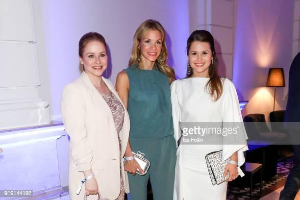 German actress Jasmin Schwiers German actress NinaFriederike Gnaedig and GermanBrasilian actress Cristina do Rego attend the Blue Hour Reception...