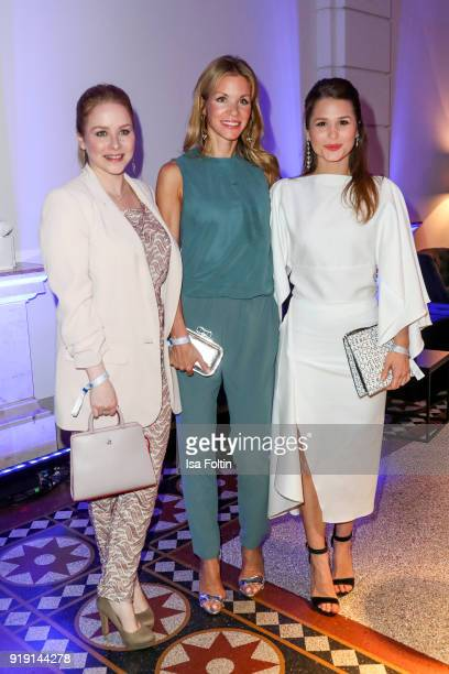 German actress Jasmin Schwiers German actress NinaFriederike Gnaedig and GermanBrasilian actress Cristina do Rego attend the Blue Hour Reception...