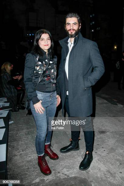 German actress Jasmin Tabatabai and German actor Nik Xhelilaj during the Fashion HAB show presented by MercedesBenz at Halle am Berghain on January...