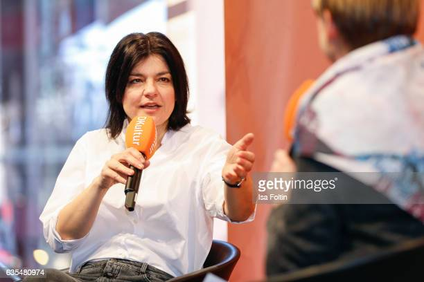 German actress Jasmin Tabatabai talks at the 'Berlinale Open House Talk' during Audi At The 67th Berlinale International Film Festival on February 15...