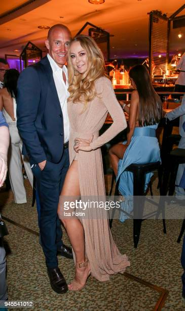 German actress Jenny Elvers and guest during the Echo Award after show party at Palais am Funkturm on April 12 2018 in Berlin Germany