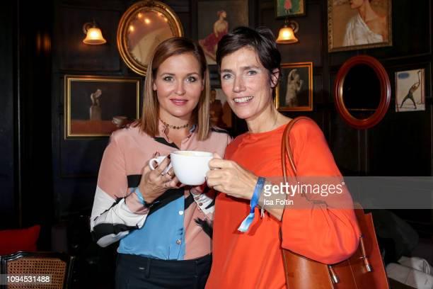 German actress Judith Hoersch and German actress Julia Bremermann attend the Blaue Blume Awards at Restaurant Grosz on February 6 2019 in Berlin...