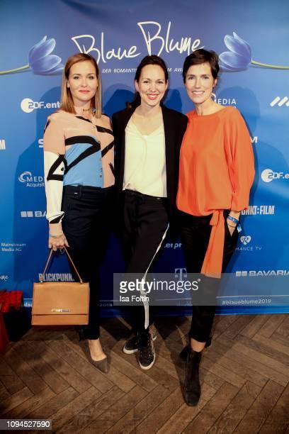 German actress Judith Hoersch, German actress Nike Fuhrmann and German actress Julia Bremermann attend the Blaue Blume Awards at Restaurant Grosz on...