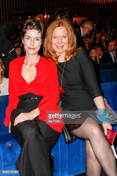 German actress Julia Bremermann and german actress Marion Kracht attend the Deutscher Hoerfilmpreis at Kino International on March 21, 2017 in...