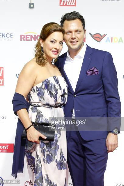 German actress Julia Dahmen and her husband Carlo Fiorito attend the 'Goldene Bild der Frau' award at Hamburg Cruise Center on October 21 2017 in...