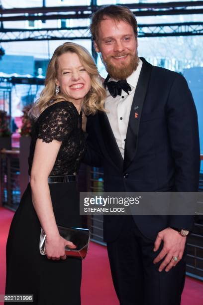 German actress Julia Zange and German actor Stefan Konarske pose on the red carpet before the premiere of the film 'My Brother's Name is Robert and...