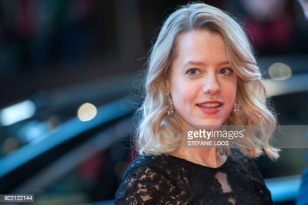 German actress Julia Zange poses on the red carpet before the premiere of the film 'My Brother's Name is Robert and He is an Idiot' presented in...