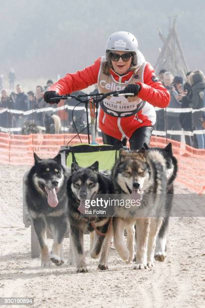 German actress Jutta Speidel runs with sled dogs during the 'Baltic Lights' charity event on March 10, 2018 in Heringsdorf, Germany. The annual event...